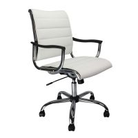 Carbis Executive Chair, Leather Effect, Black, White, Chrome Arms. Eliza Tinsley